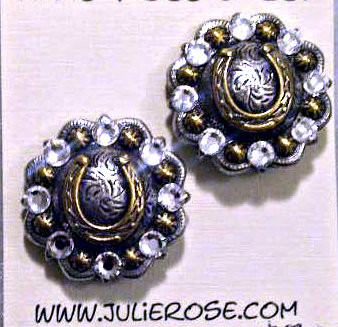 "The perfect post earring!  Repurposed conchos adorned with SWAROVSKI Crystals available in many colors. Hypo-Allergenic Surgical Steel Posts. 1"" Round. Shown here in CRYSTAL CLEAR. PROUDLY HANDMADE IN THE USA"