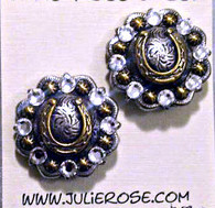 """The perfect post earring!  Repurposed conchos adorned with SWAROVSKI Crystals available in many colors. Hypo-Allergenic Surgical Steel Posts. 1"""" Round. Shown here in CRYSTAL CLEAR. PROUDLY HANDMADE IN THE USA"""