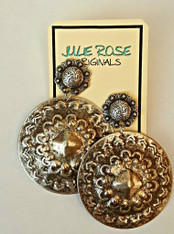Antiqued Silver XL Round Dangle Post Earrings