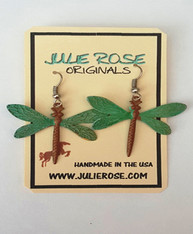 Hand Finished Verdigris Patina Dragonfly Earrings. Lightweight PROUDLY HANDMADE IN THE USA