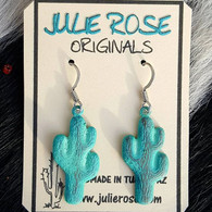 Green Patina Mini Cactus Earrings. Lightweight. Permanent Verdigris Finish. Hypo-Allergenic Approx 1.5 ""