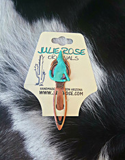 Coyote Bookmark. Antique Copper and Verdigris green southwestern style bookmark.
