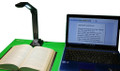 eClipseWriter Pro Software and HoverCam Solo 8 Plus 13 mega pixel document camera bundle with Laptop running eClipseWriter Pro scan and read software