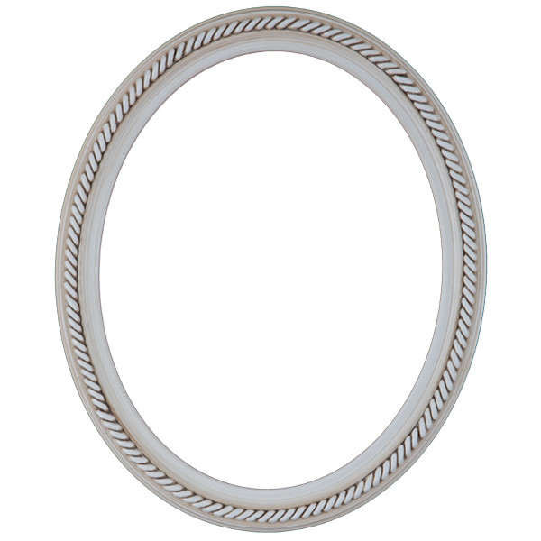 Oval Frame in Antique White Finish  Braided Rope Decals on Vintage ...