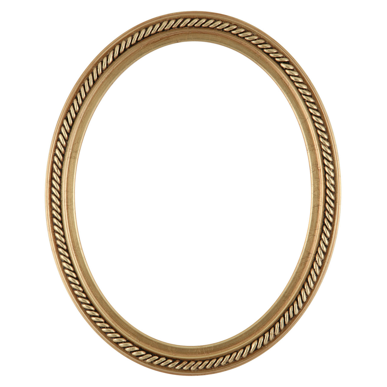 Oval Frame in Gold Leaf Finish Braided Rope Decals on ...