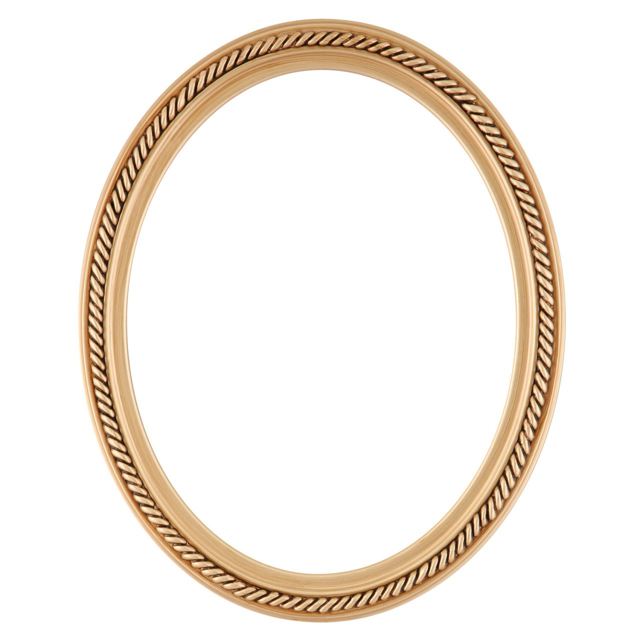 oval frame in gold paint finish braided rope decals on