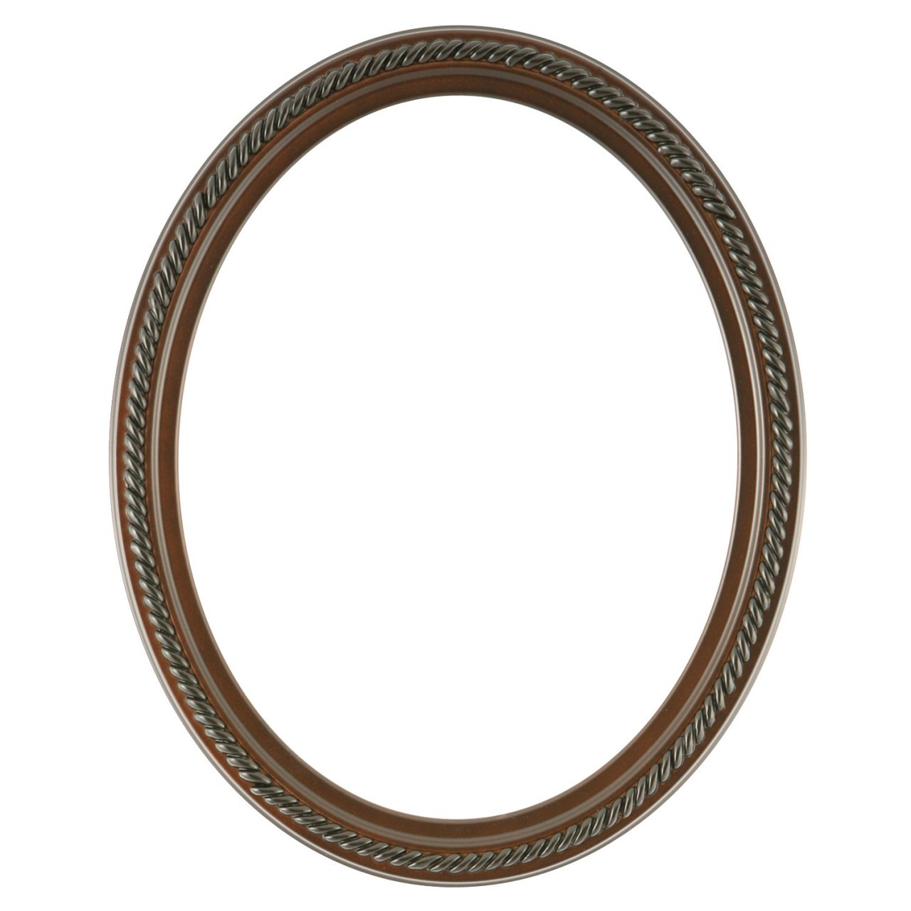 Oval Frame In Rosewood Finish Braided Rope Decals On