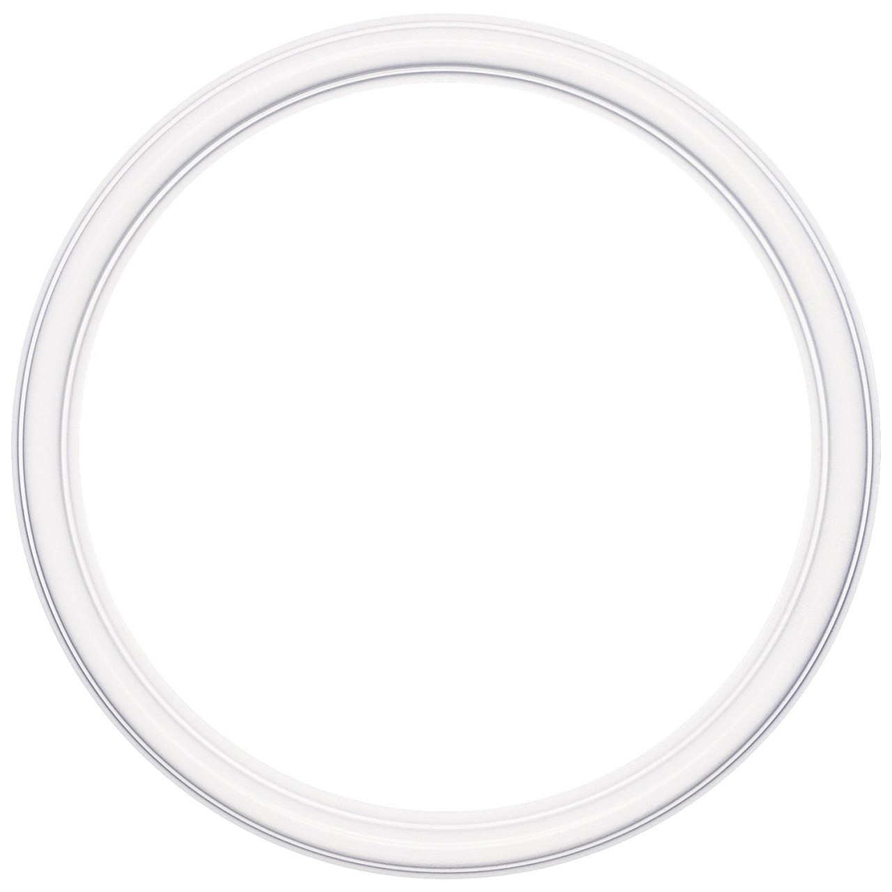 Round Frame In Linen White Finish Simple White Picture