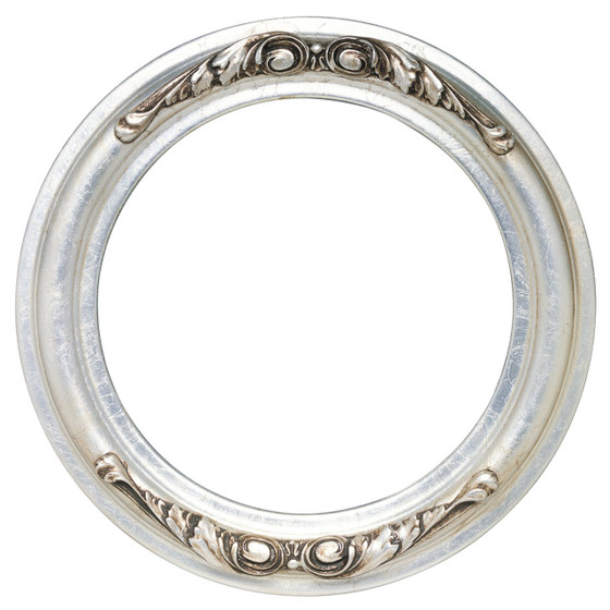 Round Frame in Silver Leaf Finish with Brown Antique| Silver Picture ...