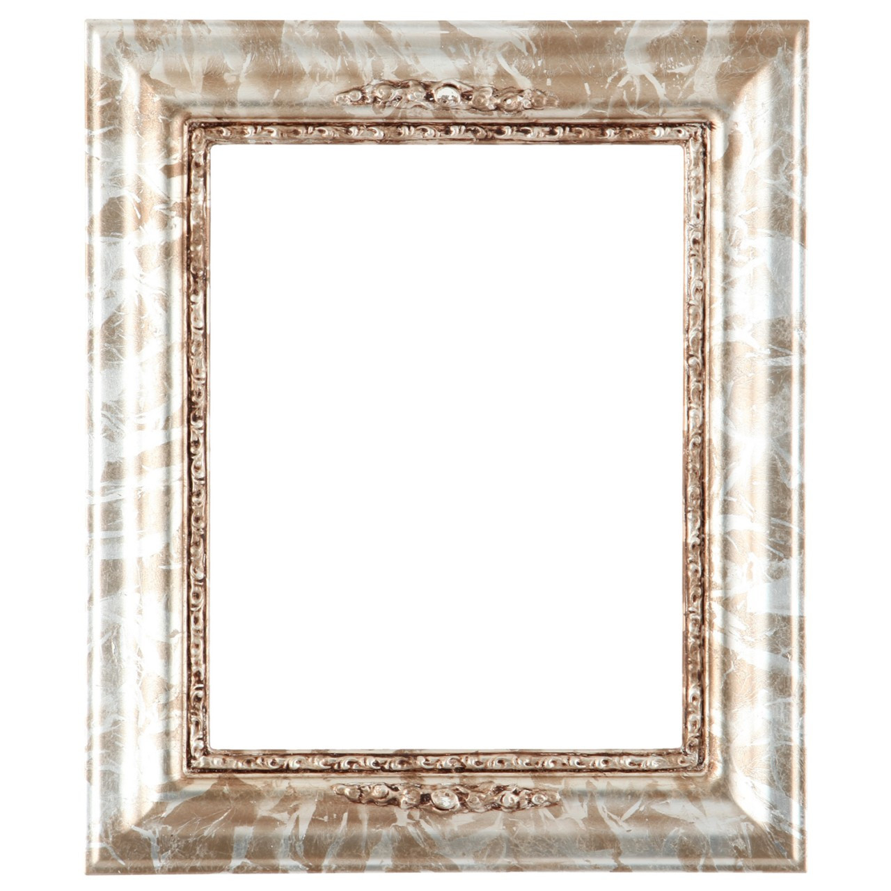 Rectangle Frame In Champagne Silver Finish Silver Leaf