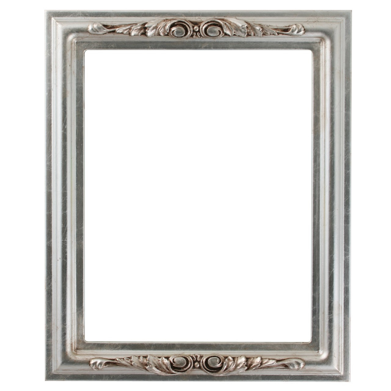 Rectangle Frame In Silver Leaf Finish With Brown Antique