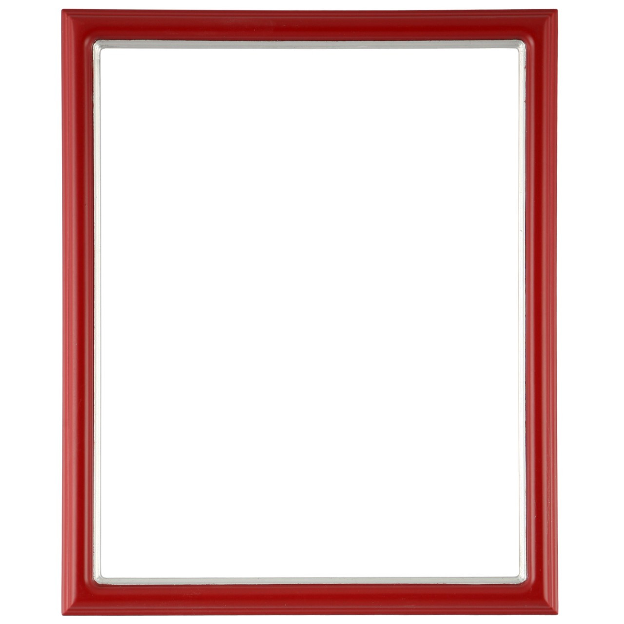 Rectangle Frame In Holiday Red Finish With Silver Lip
