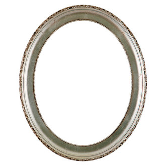Kensington Oval Frame # 401 - Silver Leaf with Brown Antique