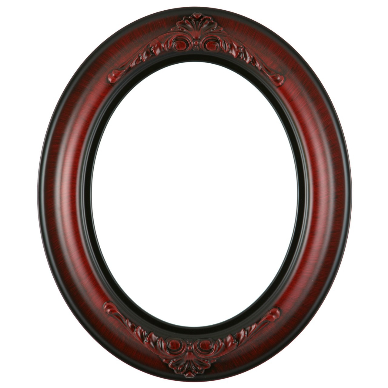 Oval Frame In Vintage Cherry Finish Antique Stripping On