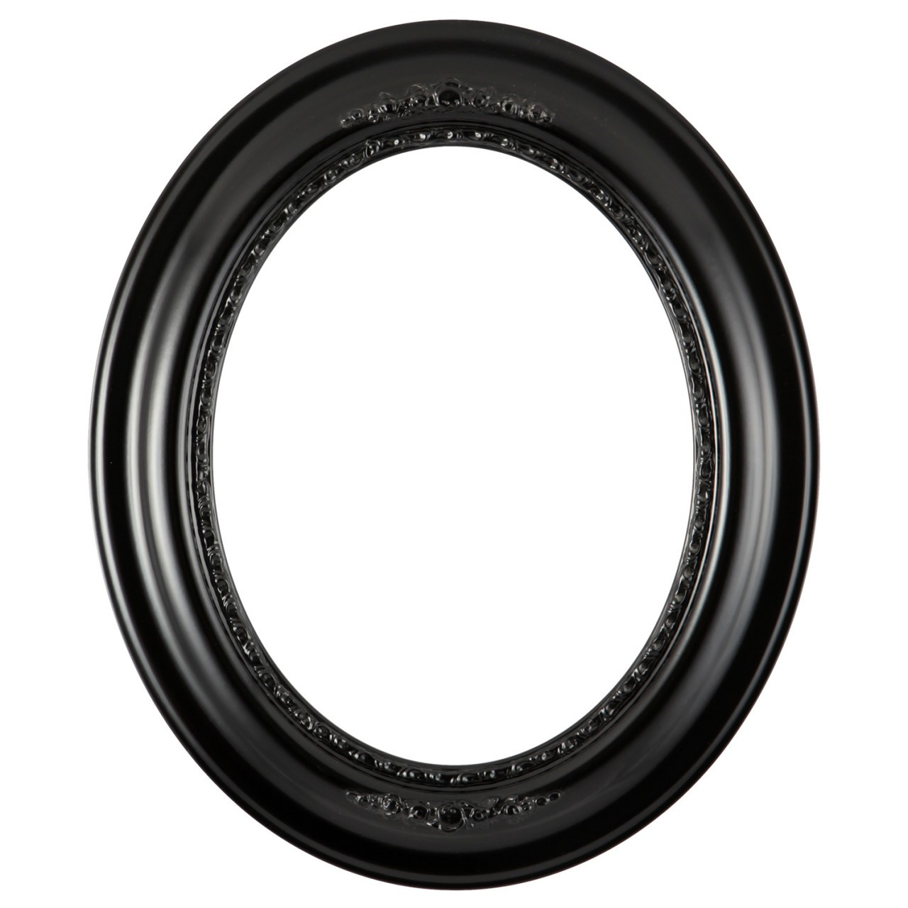Oval Frame In Matte Black Finish Black Wooden Picture