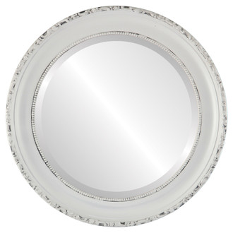 Kensington Beveled Round Mirror Frame in Linen White