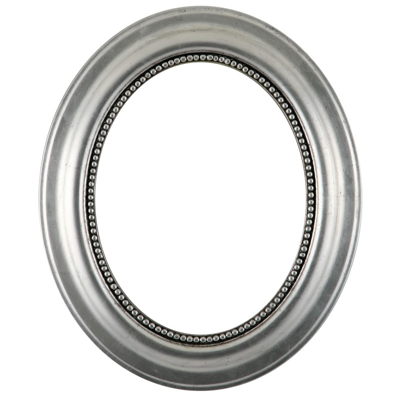 Oval Frame In Silver Leaf Finish With Black Antique Black