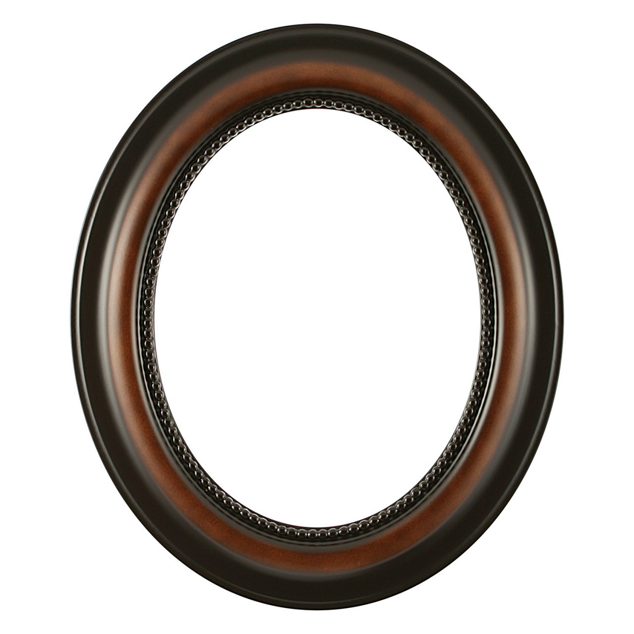 Oval Frame In Walnut Finish Vintage Wooden Picture