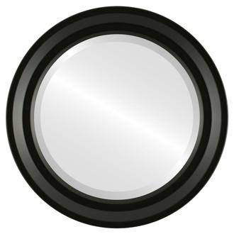 Newport Beveled Round Mirror Frame in Matte Black