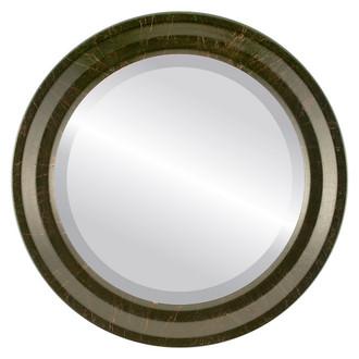 Newport Beveled Round Mirror Frame in Veined Onyx