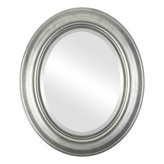 Lancaster Beveled Oval Mirror Frame in Silver Leaf with Black Antique