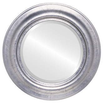 Round Framed Mirror #450 Lancaster Silver Leaf with Black Antique Finish