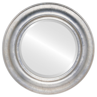 Lancaster Beveled Round Mirror Frame in Silver Leaf with Brown Antique
