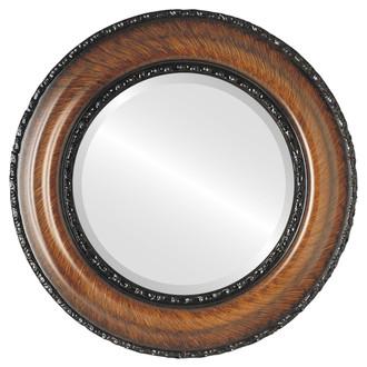 Somerset Beveled Round Mirror Frame in Vintage Walnut