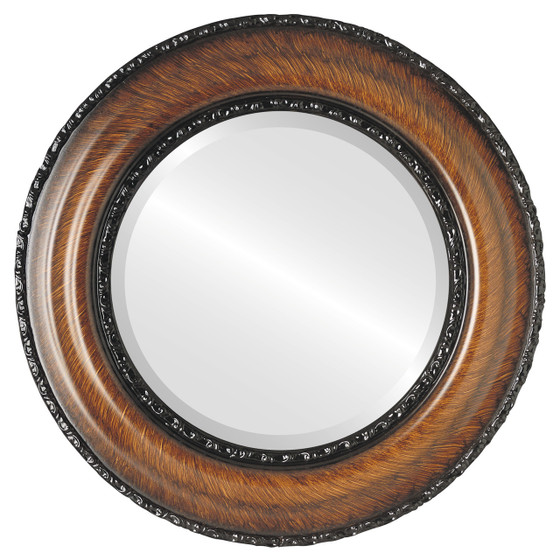 Somerset Beveled Round Mirror Frame in Vintage Walnut