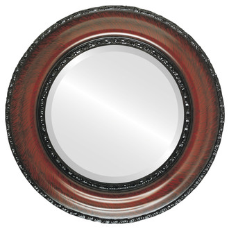 Somerset Beveled Round Mirror Frame in Vintage Cherry