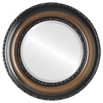 Somerset Beveled Round Mirror Frame in Walnut