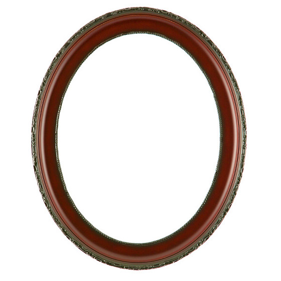 Oval Frame In Rosewood Finish Simple Decorated Red