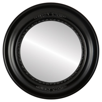 Boston Beveled Round Mirror Frame in Gloss Black
