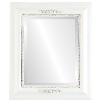 Boston Beveled Rectangle Mirror Frame in Linen White