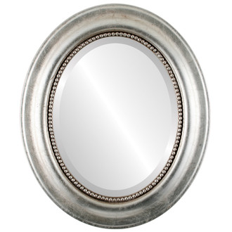 Heritage Beveled Oval Mirror Frame in Silver Leaf with Brown Antique