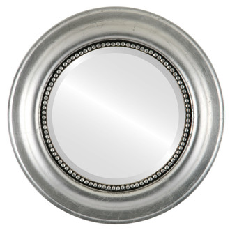 Heritage Beveled Round Mirror Frame in Silver Leaf with Black Antique
