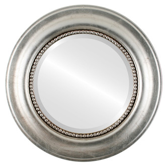 Heritage Beveled Round Mirror Frame in Silver Leaf with Brown Antique