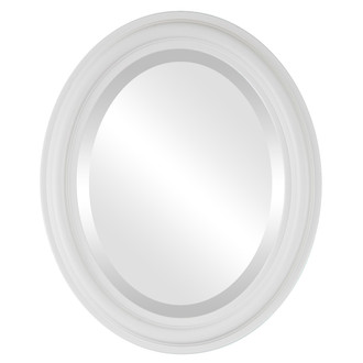 Philadelphia Beveled Oval Mirror Frame in Linen White