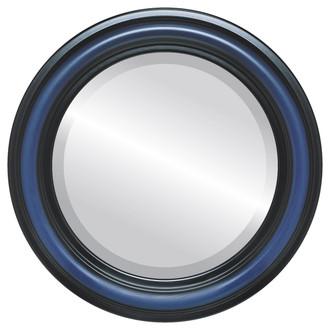 Philadelphia Beveled Round Mirror Frame in Royal Blue