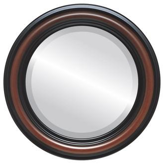 Philadelphia Beveled Round Mirror Frame in Rosewood