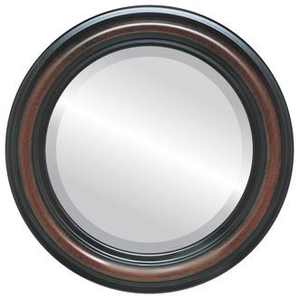 Philadelphia Beveled Round Mirror Frame in Vintage Cherry