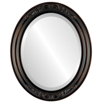 Florence Beveled Oval Mirror Frame in Rubbed Bronze