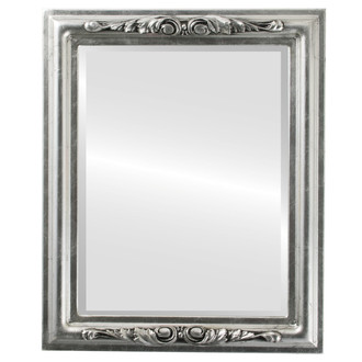 Florence Beveled Rectangle Mirror Frame in Silver Leaf with Black Antique