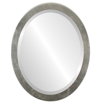 Vienna Beveled Oval Mirror Frame in Silver Leaf with Brown Antique