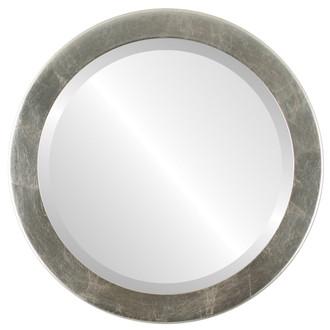 Vienna Beveled Round Mirror Frame in Silver Leaf with Brown Antique
