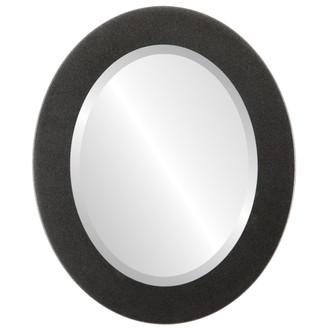 Cafe Bevelled Oval Mirror Frame in Black Silver