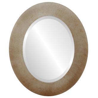 Cafe Beveled Oval Mirror Frame in Burnished Silver