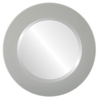 Cafe Beveled Round Mirror Frame in Bright Silver
