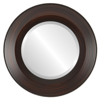 Lombardia Beveled Round Mirror Frame in Mocha
