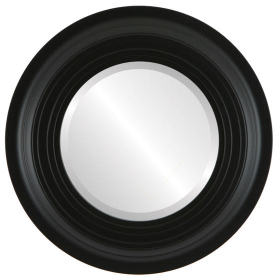 Imperial Beveled Round Mirror Frame in Matte Black